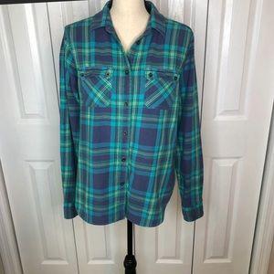 Large AEO Teal & Purple Long Sleeve Plaid Shirt